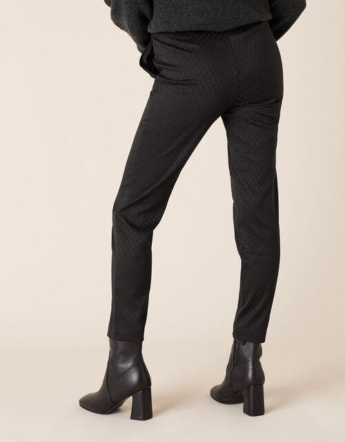 Slim Jacquard Trousers, Black (BLACK), large