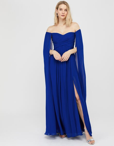 Lucie Bardot Chiffon Maxi Dress Blue, Blue (BLUE), large