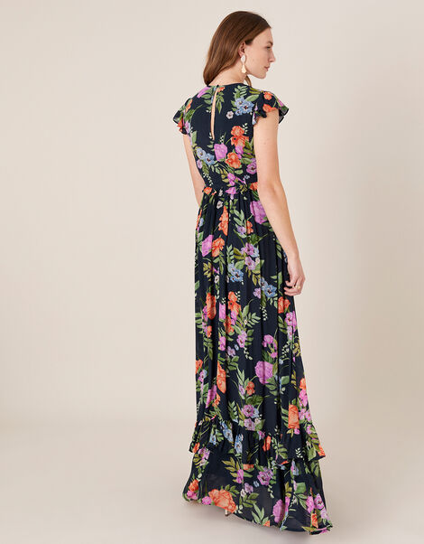 Silvia Floral Print Maxi Dress Blue, Blue (NAVY), large