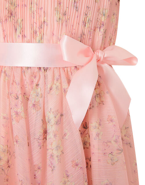 Ditsy Print Pleated Dress, Pink (PALE PINK), large