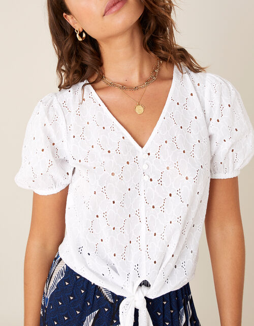 Schiffli Lace Tie Front Top, White (WHITE), large