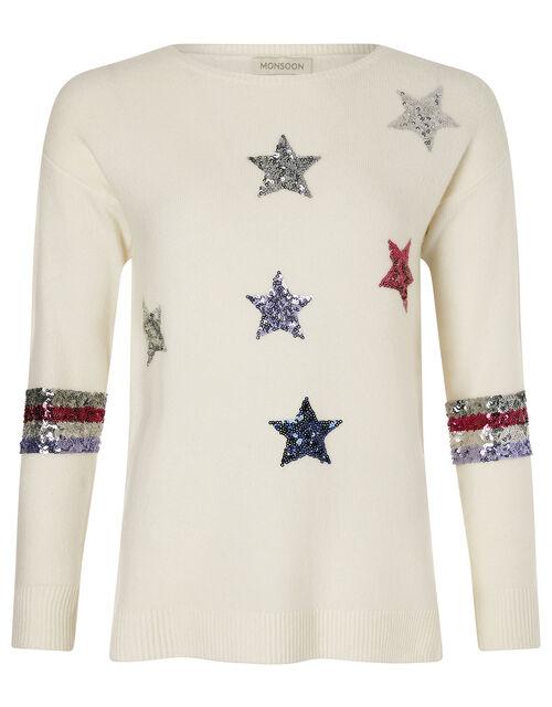 Sequin Star Knit Jumper, Ivory (IVORY), large