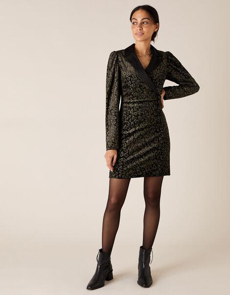 Nieve Leopard Nailhead Blazer Dress Black, Black (BLACK), large