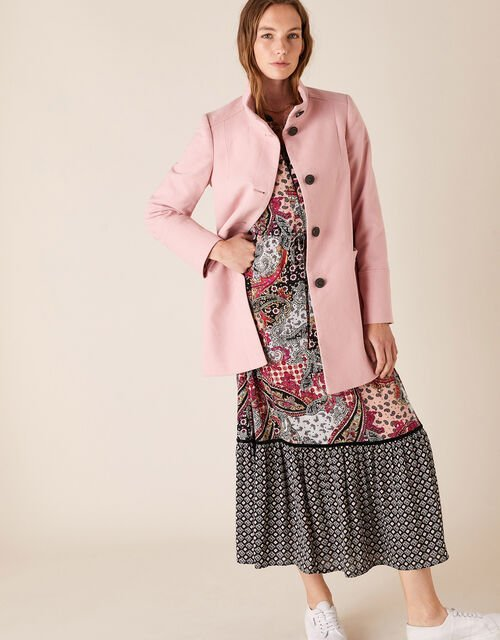 Molly Casual Coat in Cotton Twill, Pink (PINK), large