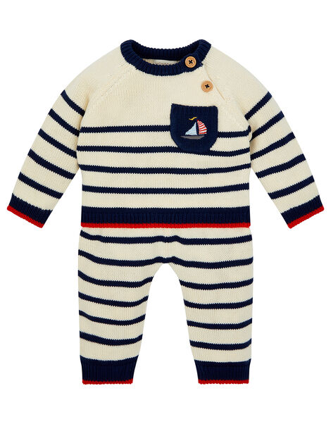 Newborn Boat and Stripe Knit Set Blue, Blue (NAVY), large