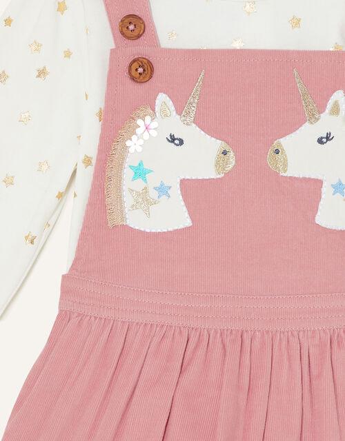 Baby Unicorn Pinny Dress and Top Set, Pink (PINK), large