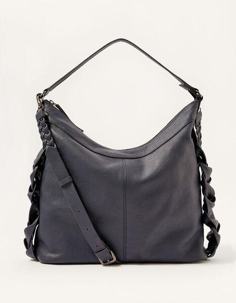 Plaited Leather Shoulder Bag, , large