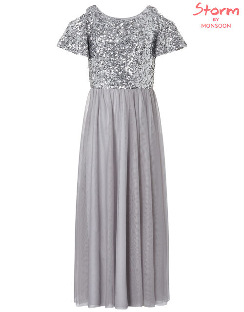 Jacinta Cold-Shoulder Sequin Maxi Dress, Silver (SILVER), large