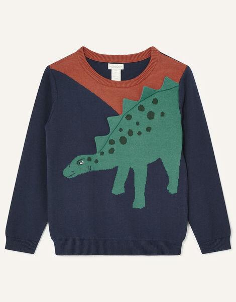 3D Dinosaur Knit Jumper Blue, Blue (NAVY), large