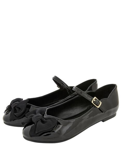 Emery Patent Bow Ballerina Flats Black, Black (BLACK), large