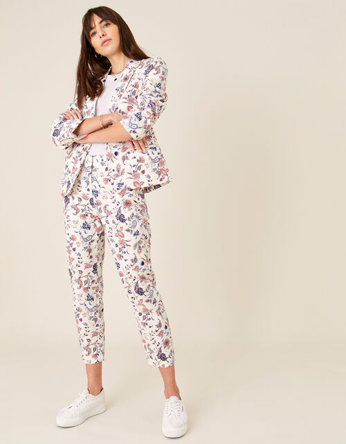 Floral Print Trousers, Ivory (IVORY), large