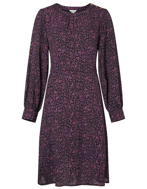 Heart Print Dress in LENZING™ ECOVERO™, Black (BLACK), large