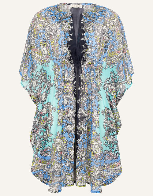 Bright Paisley Print Kaftan in Organic Cotton , Blue (BLUE), large