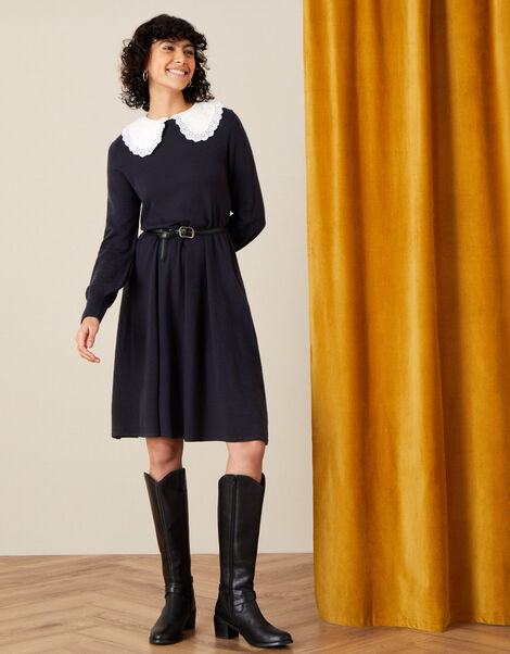 Charlotte Collar Swing Dress  Blue, Blue (NAVY), large