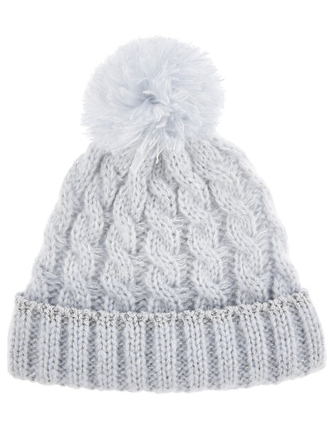 Baby Evie Shimmer Cable Knit Hat Blue, Blue (BLUE), large