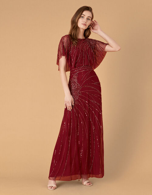 Florence Embellished Flutter Sleeve Maxi Dress, Red (RED), large
