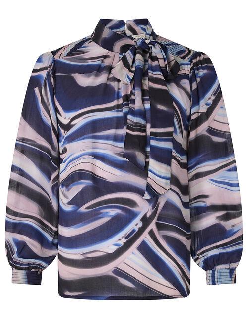 Mabel Marble Print Blouse, Blue, large