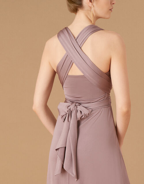 Tallulah Twist Me Tie Me Jersey Bridesmaid Dress, Brown (MOCHA), large