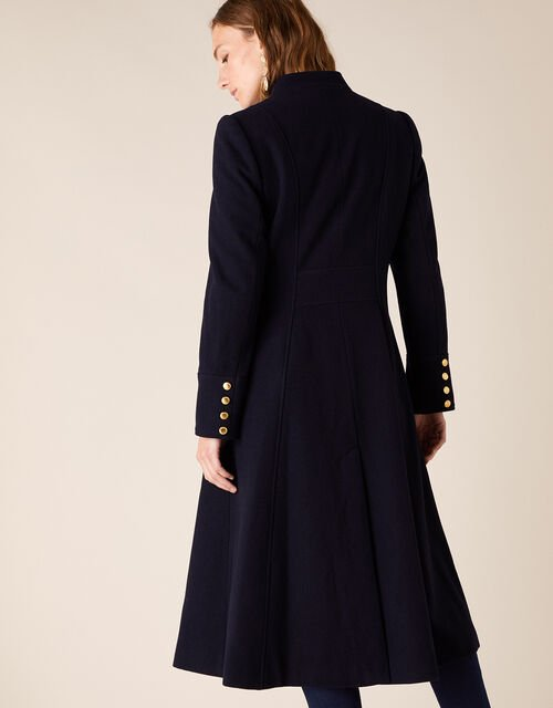 Rosaline Long Military Coat in Wool Blend, Blue (NAVY), large