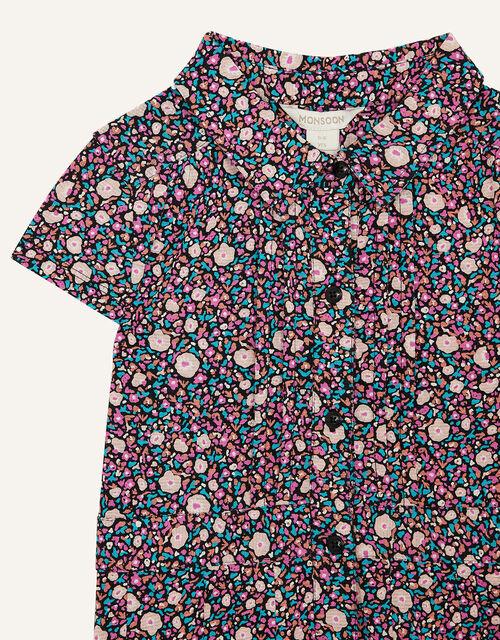 MINI ME Brittany Floral Shirt Dress, Orange (CORAL), large