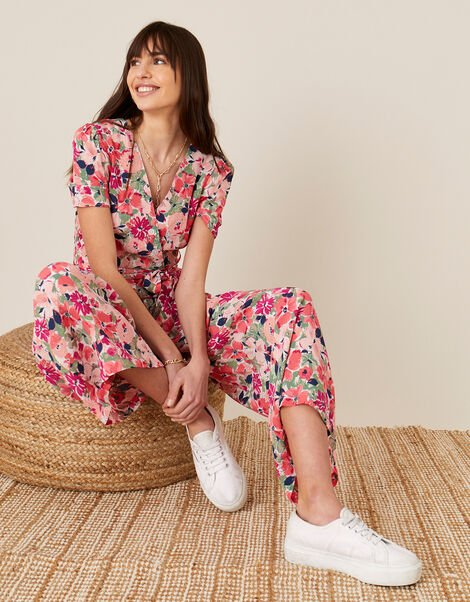 Monica Floral Wrap Jumpsuit Pink, Pink (BLUSH), large