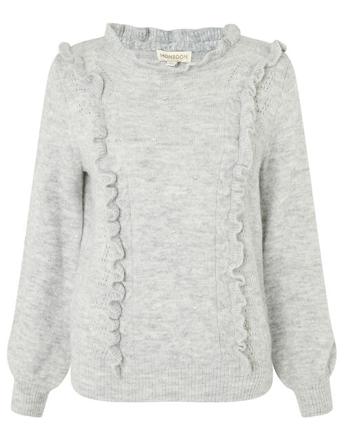 Ruffle Pointelle Knit Jumper, Grey (GREY), large