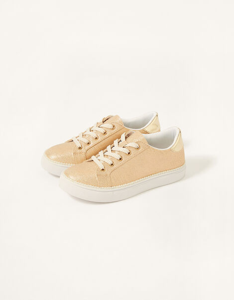 Shimmer Pearl Edge Trainers  Gold, Gold (GOLD), large