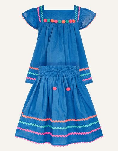 Fiesta Ricrac Top and Skirt Set  Blue, Blue (BLUE), large