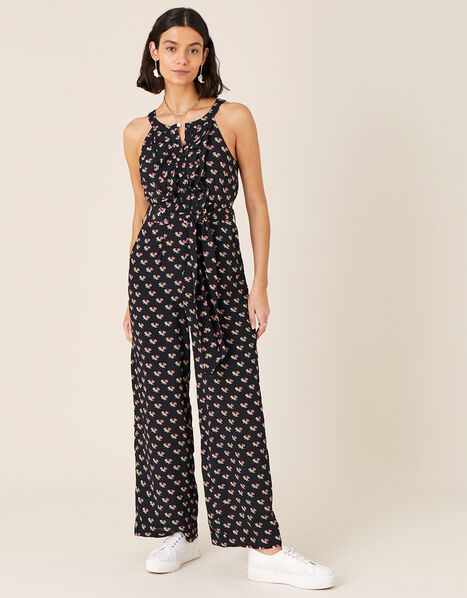 Floral Print Wide Leg Jumpsuit Black, Black (BLACK), large