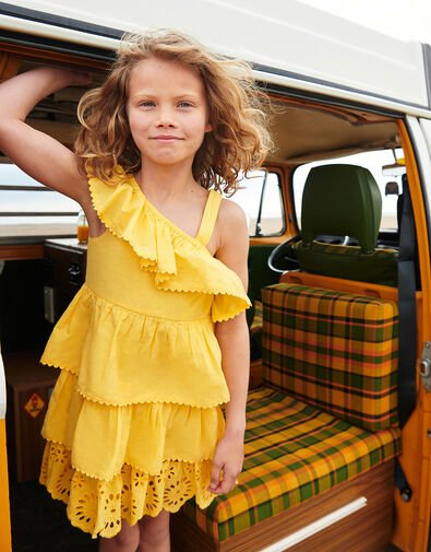 Layered Frill Broderie Dress Yellow, Yellow (YELLOW), large