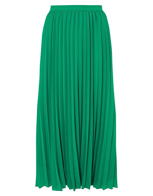 Meryl Pleated Midi Skirt in Recycled Fabric, Green (GREEN), large