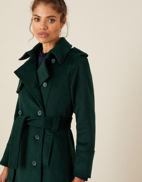 Wren Trench Coat in Wool Blend Teal, Teal (TEAL), large