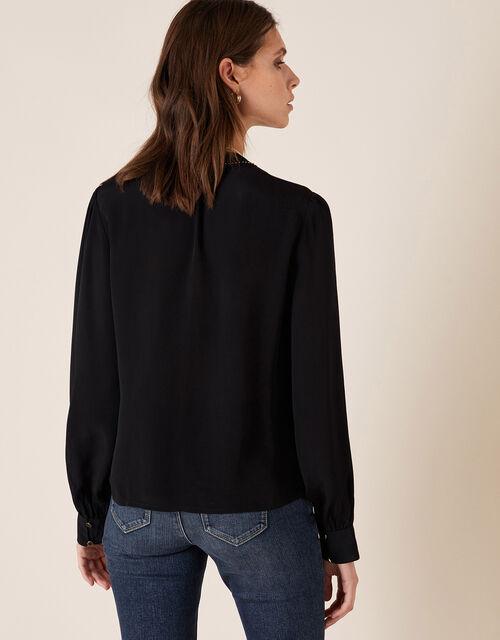 Embroidered Bib Blouse, Black (BLACK), large