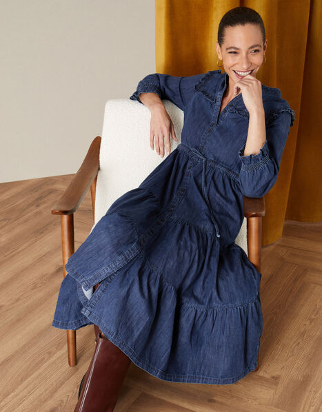 Tiered Denim Dress Blue, Blue (DENIM BLUE), large
