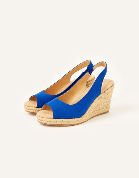 Sandy Peep Toe Espadrille Wedges Blue, Blue (COBALT), large
