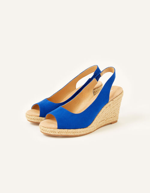 Sandy Peep Toe Espadrille Wedges, Blue (COBALT), large