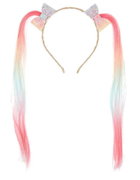 Rainbow Faux Hair Headband, , large