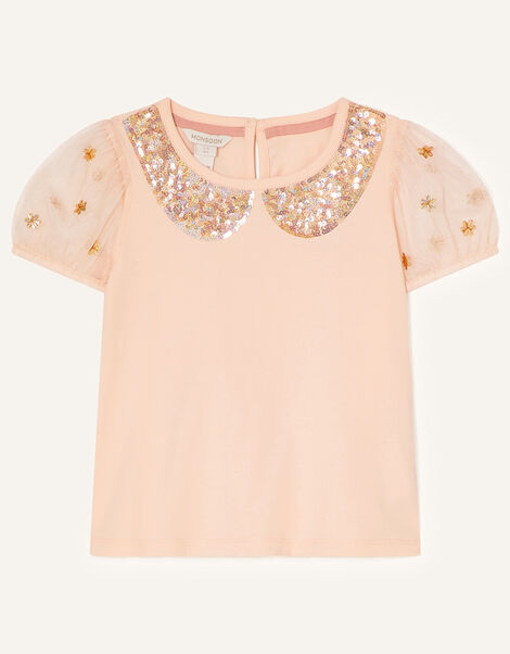 Sequin Collar T-Shirt Nude, Nude (NUDE), large