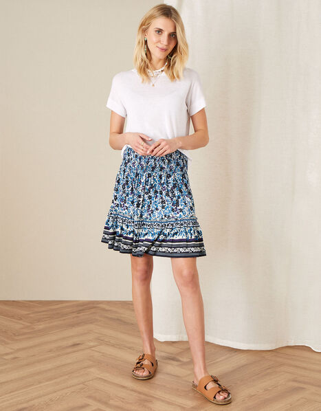 Petronella Ditsy Floral Jersey Skirt Blue, Blue (NAVY), large