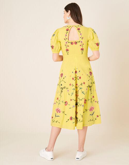 Delia Embroidered Tea Dress , Yellow (YELLOW), large