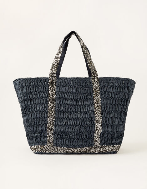Sable Sequin Shopper Bag Blue, Blue (NAVY), large