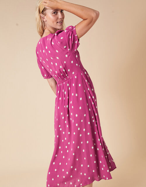 Spot Print Midi Dress in Sustainable Viscose, Pink (PINK), large