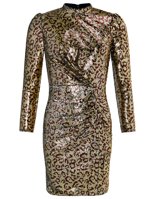 Tory Leopard Sequin Short Dress, Gold (GOLD), large