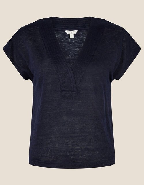 Lenny Woven Mix Top in Linen Blend, Blue (NAVY), large