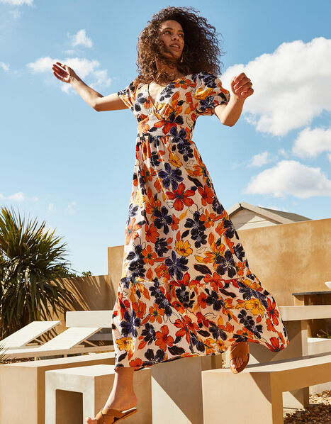 Floral Maxi Dress in Pure Cotton Orange, Orange (ORANGE), large