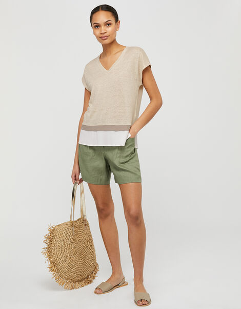Wallace T-Shirt in Pure Linen Natural, Natural (STONE), large