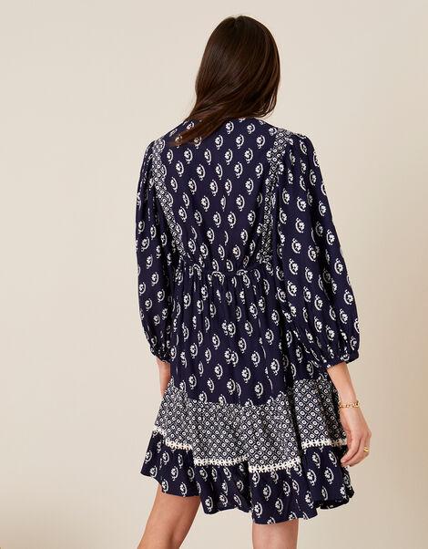 Daisy Print Dress in LENZING™ ECOVERO™ Blue, Blue (NAVY), large