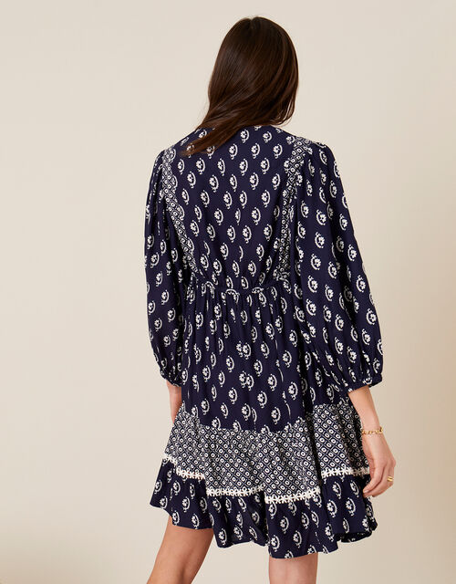 Daisy Print Dress in LENZING™ ECOVERO™, Blue (NAVY), large