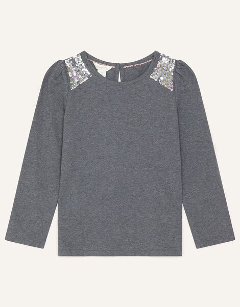 Sequin Shoulder Top Grey, Grey (CHARCOAL), large