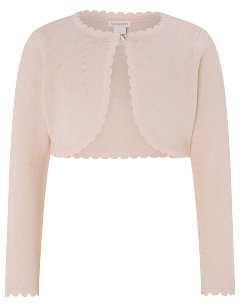 Niamh Sparkle Knitted Cardigan with Crystal Button Pink, Pink (PINK), large